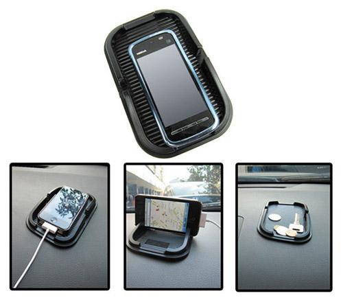Tempat HP Multifungsi Berbahan Karet untuk Dashboard Mobil